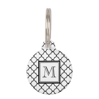 Black and White Quatrefoil, Your Monogram Pet ID Tag