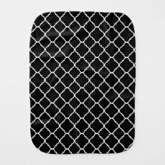 Black and White Quatrefoil Baby Burp Cloth