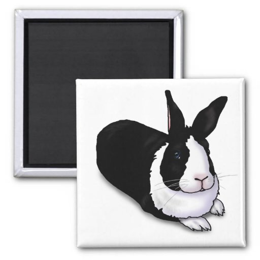 Black and White Rabbit 2 Inch Square Magnet