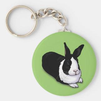 Black and White Rabbit Basic Round Button Keychain