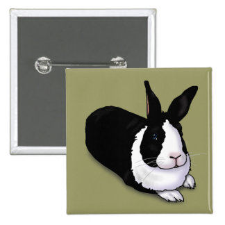 Black and White Rabbit Button