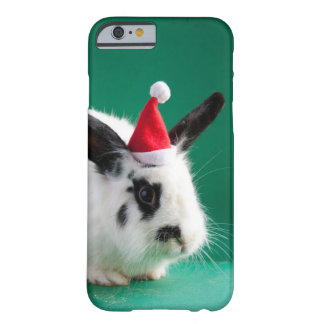 Black and white rabbit in Christmas hat Barely There iPhone 6 Case
