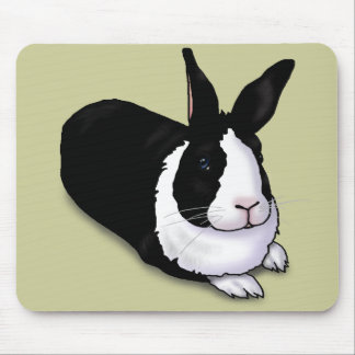 Black and White Rabbit Mouse Pad