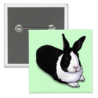Black and White Rabbit Pinback Button