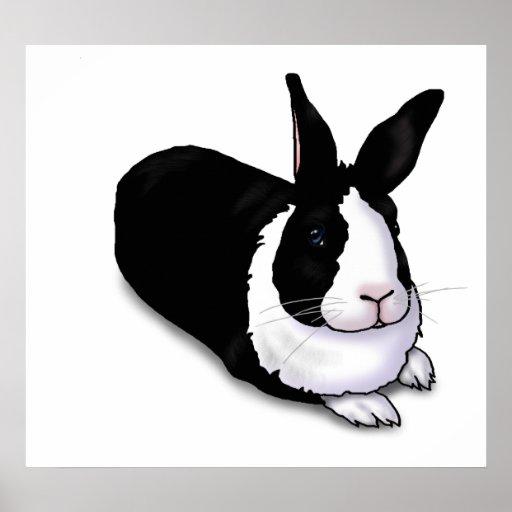 Black and White Rabbit Poster