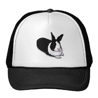 Black and White Rabbit Trucker Hat