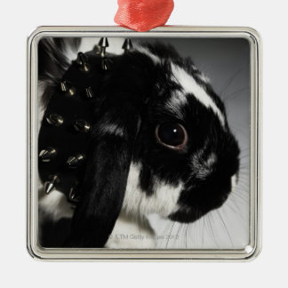 Black and white rabbit with studded collar metal ornament