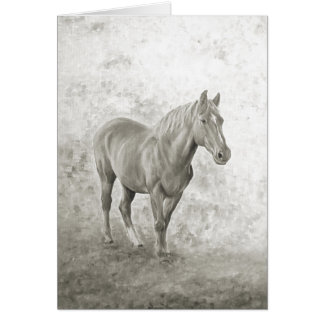 Black and white Racehorse Card