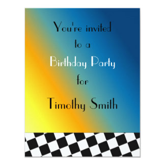 Black and White Racing Checks Birthday Invitation