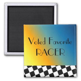 Black and White Racing Checks Magnet