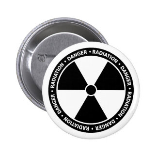 Black and White Radiation Symbol Button