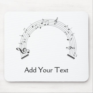 Black and White Rainbow Shaped Music Staff Mouse Pad