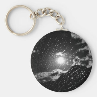 Black and White raindrops Basic Round Button Keychain