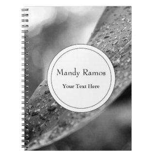 Black and White Raindrops On A Leaf Spiral Notebook