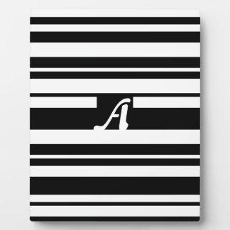 Black and White Random Stripes Monogram Display Plaques