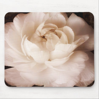 Black And White Ranunculus Flower Sepia Floral Mouse Pad