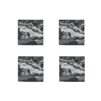 Black and White Rapids Stone Magnet