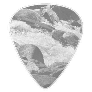 Black and White Rapids White Delrin Guitar Pick