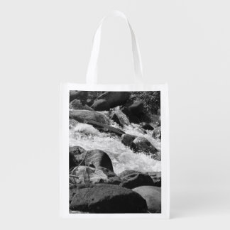 Black and White Rapids Grocery Bags
