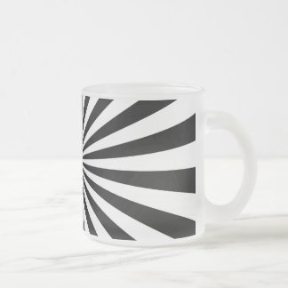 Black and White Ray Pattern 10 Oz Frosted Glass Coffee Mug