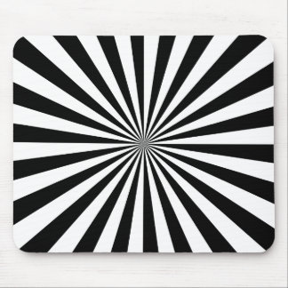 Black and White Ray Pattern Mouse Pad