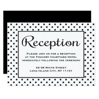 Black And White Reception Polka Dot Wedding Event Card