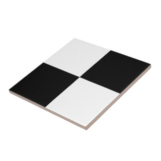 Black and White Rectangles Ceramic Tile