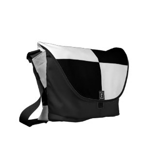 Black and White Rectangles Courier Bag