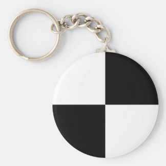 Black and White Rectangles Keychain