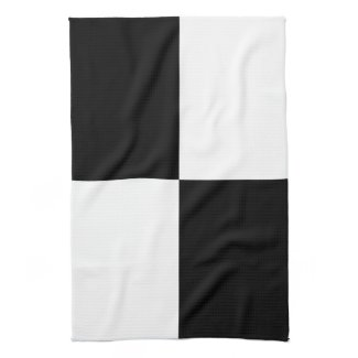 Black and White Rectangles Kitchen Towel