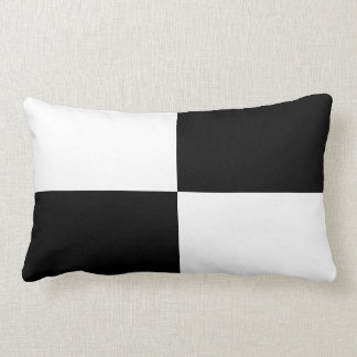 Black and White Rectangles Lumbar Pillow