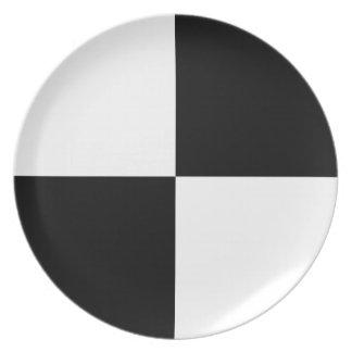 Black and White Rectangles Dinner Plate