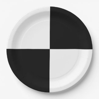 Black and White Rectangles 9 Inch Paper Plate