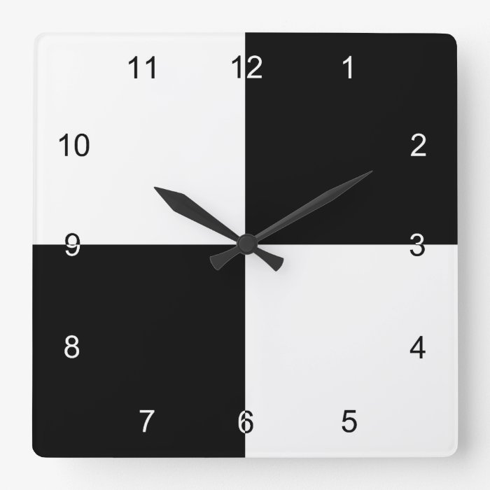 Black and White Rectangles Square Wall Clock