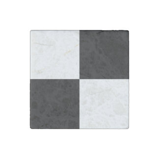 Black and White Rectangles Stone Magnet