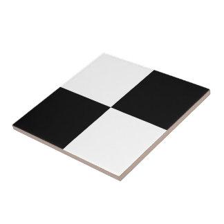 Black and White Rectangles Ceramic Tile