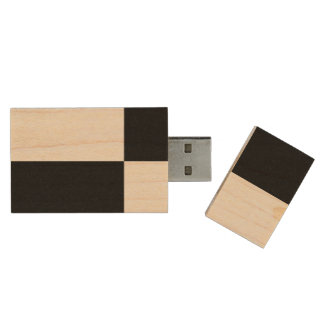 Black and White Rectangles Wood Flash Drive