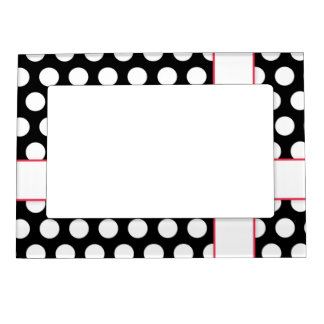 Black and White Red Accent Polka Dots Cute Frame Magnetic Photo Frames