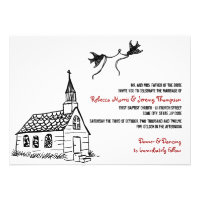 Black and White Red Chapel Wedding Invitation