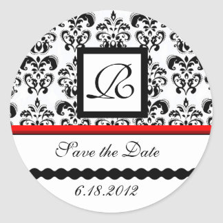 BLACK AND WHITE RED  DAMASK MONOGRAM,Save The Date Classic Round Sticker