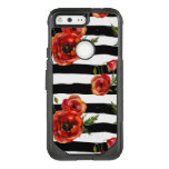 Black And White, Red Poppies, Floral, Monogrammed Otterbox Commuter Google Pixel Case at Zazzle