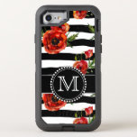 Black And White, Red Poppies, Floral, Monogrammed Otterbox Defender Iphone 7 Case at Zazzle