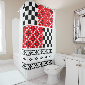 Red White And Black Shower Curtains | Zazzle