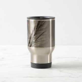 BLACK AND WHITE REEDS BLOWN IN THE WIND TRAVEL MUG