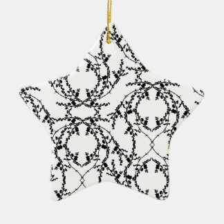 Black and White Repeat Floral Pattern. Ceramic Ornament