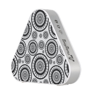 Black and White Repeating Wheel Pattern Bluetooth Speaker