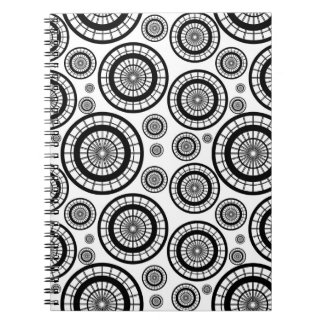 Black and White Repeating Wheel Pattern Notebook