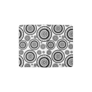 Black and White Repeating Wheel Pattern Pocket Moleskine Notebook