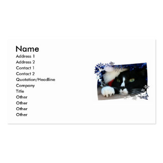 Black and White resigned cat santa hat blue tinsel Business Card