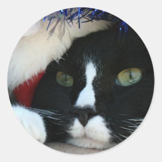 Black and White resigned cat santa hat blue tinsel Classic Round Sticker